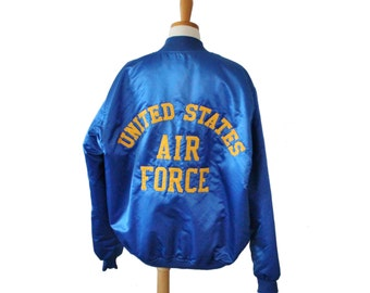 Vintage 80s United States Air Force Bomber Jacket - Embroidered - Men XL long - Game Sportswear, Made in America