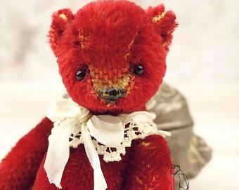 Meeka, Red Miniature Mohair Artist Teddy Bear from Aerlinn Bears