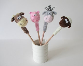 Farmyard Pencil Toppers toy knitting patterns