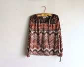 1970's Polyester Ethnic Blouse