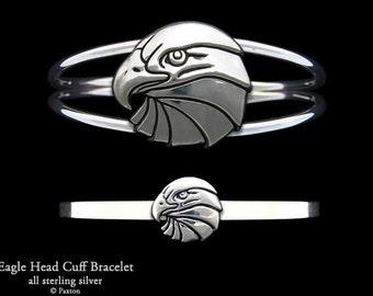 Eagle Bracelet Sterling Silver Eagle Head Cuff Bracelet Handmade