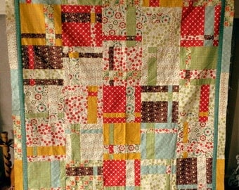SALE Quilt Top plus matching fabric for binding ready to finish DIY bedding sewing supplies from MyGypsyCottage