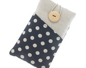 iPhone 5 case, iPhone SE fabric case, iPhone 6 pouch, iPhone 6S case with pockets, iPhone 6 Plus cover, iPhone 6S sleeve, beige dots, black