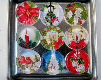 Mid Century Christmas Images Fridge Magnets, Christmas Decorations, Refrigerator Magnets & Storage Tin