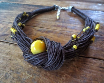 Tagua Nut Necklace, Boho Necklace, Yellow Tagua Nut Beads, Linen Necklace, Polished Brown Linen Cord, Waxed Linen Cord, Unique Necklace