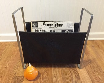 MID CENTURY MAGAZINE Rack Vinyl Rack, L P Rack, Vinyl and Metal, Modern, Minimalist, 1970s, Baughman Attributed at Modern Logic