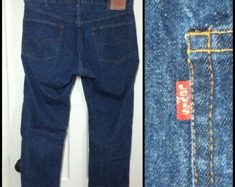 Vintage Levi's 505 46X30 Straight Leg Blue Jeans 1970's made in USA 46 inch Waist black stitch Talon zipper #1248
