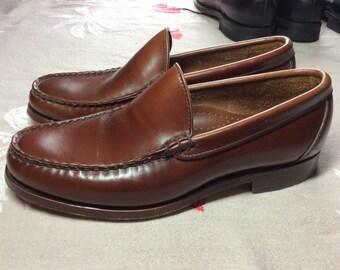 Vintage Allan Edmond Princeton brown leather Loafers Moccasins size 8 leather soles