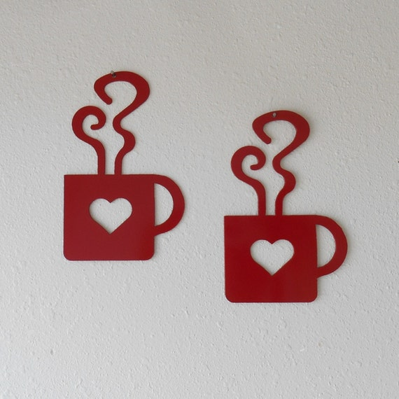 Red Heart Coffee Mug Wall Art  Metal Wall Decoration Pair