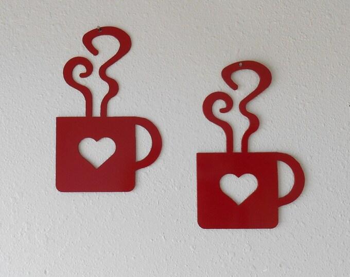 Red Heart Coffee Mug Wall Art  Metal Wall Decoration Pair