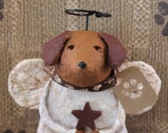DOXIE ANGEL,OOAK, handmade from papier mache, Daschund Angel