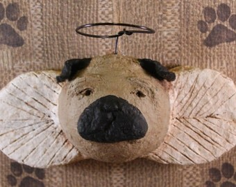 PUG ANGEL Ornament, OOAK, handmade from paper mache, Pug Angel