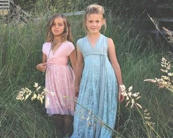 Girls~Lace & Chiffon~Convertible Wrap Dress-Short Triple Layer skirt~Octopus Infinity Dress~Custom Combine Laces and Chiffons