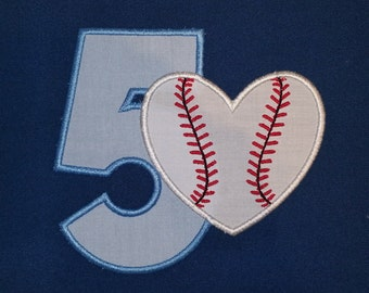 Baseball Heart Applique Numbers Embroidery Designs