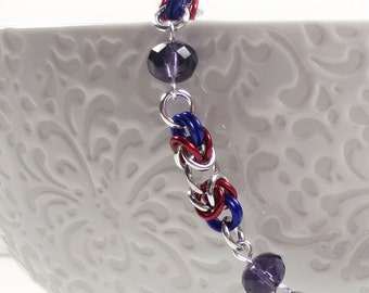 Tanzanite Czech Glass and Byzantine Chain Mail Necklace, Red and Purple Necklace, Chainmaille Jewelry