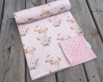 Minky Baby Blanket- Baby Deer- Fawn Fabric- Woodland Theme- Deer Theme- Baby Bedding