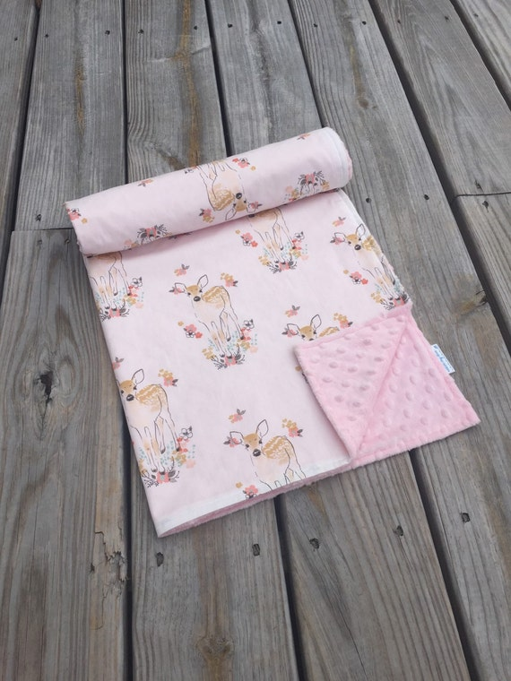 Minky baby blanket baby deer fawn fabric woodland theme for Baby themed fabric