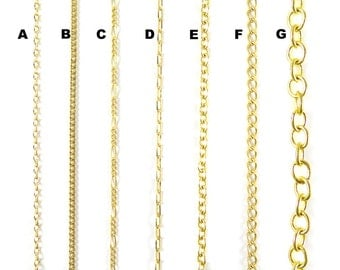 Gold Plated Chain for Customized Necklace, Choker, Bracelet, Anklet Jewelry