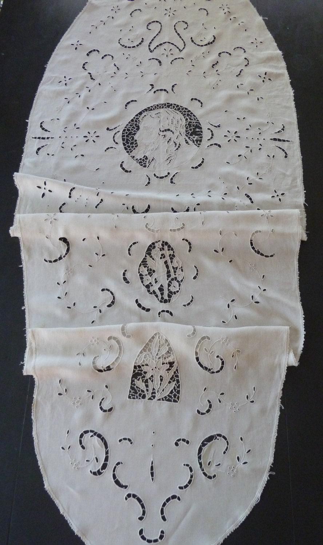 Antique Linen Funeral Pall Casket Cover Italian Religious