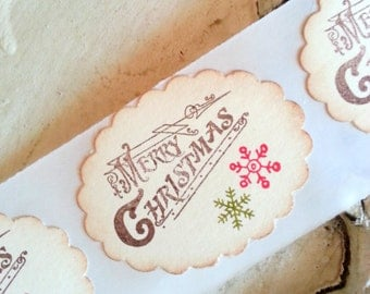 Christmas Stickers Holiday Sticker Seals Merry Christmas Holiday Gift Wrap Vintage Inspired Envelope Seal