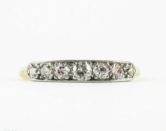 Antique Old European Cut Diamond Wedding Ring, 7 Stone Graduated Design Wedding Ring in 18 Carat Gold.