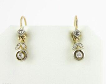 Art Nouveau Diamond Earrings, Floral Design Dangle Earrings with Bezel Set Diamonds. Circa 1910s, 18ct & Platinum.