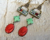 Catherine De Medici, Vintage Coral Glass Cameos, Vintage Floral Micro Mosaic and Jadite Green Cut Glass , Assemblage Earrings