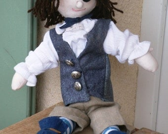 Pete the Pirate doll.  Rag pirate doll.  Soft toy.  Alan Dart