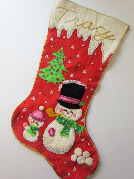Vintage Retro Christmas Heavily Sequined Felt By
