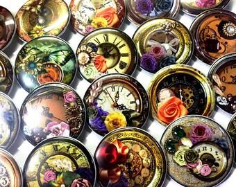 "Timeless Buttons, 1"" Buttons, 1.5"" Buttons, Clocks, Clock Pins, Clock Buttons, Party Favors, Time, Steam Punk, Floral, Steam Punk Buttons"