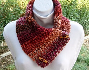 NECK WARMER Scarf, Buttoned Cowl, Vibrant Burnt Orange Rust Brown Red Gray, Toggle Buttons, Soft Striped Winter Crochet Knit..Ready to Ship