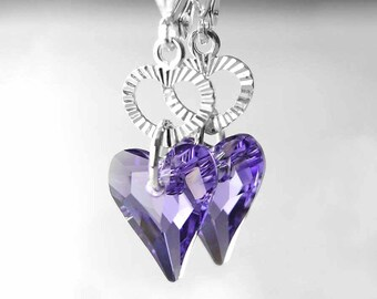 Tanzanite Heart Earrings Sterling Silver Swarovski Blue Purple Crystal Earrings Violet Purple Heart