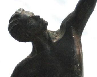 Vintage Greek Man with a Sword Brass Metal Statue - Greek Man with Raised Sword Statue