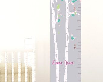 Cherry blossom growth chart nursery decor baby gift personalized growth chart