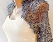 Blue and Silver Silk Wedding Bridal Evening Chic Hand Knitted Shrug/Sleeves Bolero