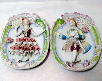 3 Dimensional By Luce Bone China Victorian Couple Home and Garden Decor Decorative Plates Wall Art 3D Collector Plates Hanging Plates