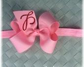 Tutu Chic Monogram Hair bow Initial Hair bow Toddler Hair Clip Monogram hair clip Pink Hair bow Valentines Hair bow Monogram Baby Headband