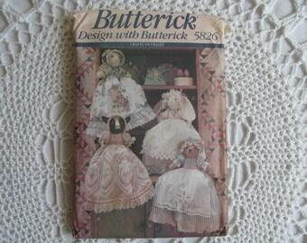 Butterick Pattern 5826 Pillowcase Dolls Animal Bear Cat Bunny Rabbit Cow 1991 Sewing Crafts Doll Pillow