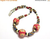 Beaded Primitive Necklace, Red and Yellow Tribal Necklace, Upcycled Ceramic Beads, Yellow Citrine, 23-Inch Unisex Necklace