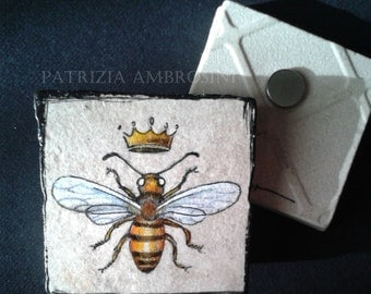 WASP with crown -  Vintage Style  -  One Handpainted magnet - hornet - insect
