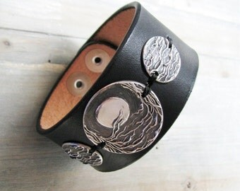 Moon and Trees Wide Cuff, Fine Silver Moon and Trees on Black Leather, Recycled Silver, Original and Exclusive Design by SilverWishes