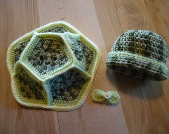 Crochet Baby Turtle Shell & Hat Set