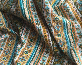 Vintage Printed Cotton Fabric - Floral Stripe Pattern Gold Green Blue Boho Hippie Chic - 3+ Yards 36 In Wide Quilting Dress Weight - Yardage