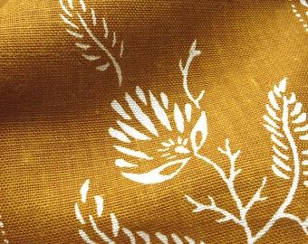SAMPLE - Vintage Cotton Upholstery Fabric - Schumacher Colonial Williamsburg Stencil Flower Mustard Printed Wax Resist - SAMPLE SWATCH