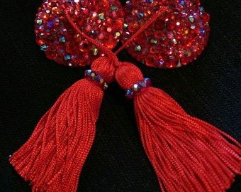 Red Siam Nipple Tassel 3D Printed Burlesque Pasties by Koston Kreme