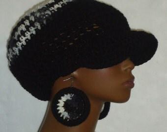 Zebra Top Medium Brimmed Cap Hat with Earrings by Razonda Lee Razondalee Made to Order