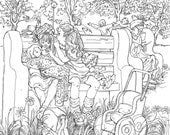 """COLORING PAGE-""""A Picturebook To Color""""-Little Girlfriends Instant printable adult coloring page #9-Color Art for Adults,Teens,Children"""