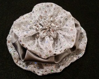 Sparkly Silver Satin Brooch Pin