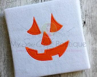 Pumpkin Face Applique Design - Machine Embroidery Applique Design - 8 Sizes - Instant Download