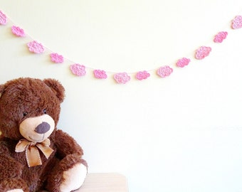 Clouds garland - pink cloud banner - baby shower decorations for girl - nursery garland - kids birhtday party decorations ~35.5 in